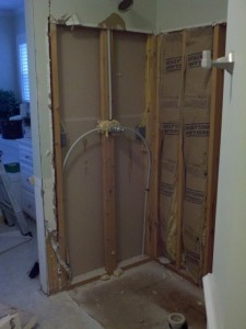 After ripping out fiberglass shower