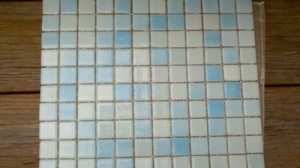 "12"" x 12"" sheet of glass tiles for the shower"