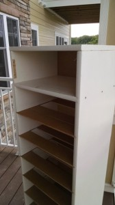 The downsized shoe cabinet with the little cupboard converted to another shoe shelf.