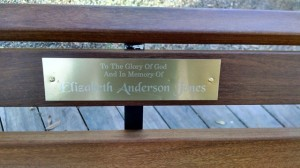 finished bench with nameplate
