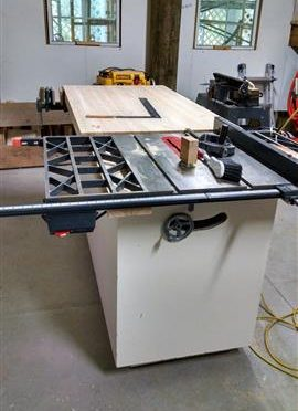 Table saw workbench using stuff I keep