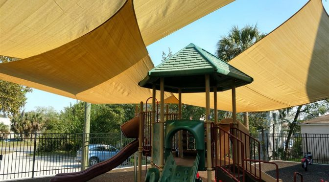 Sail shades for a sunny playground